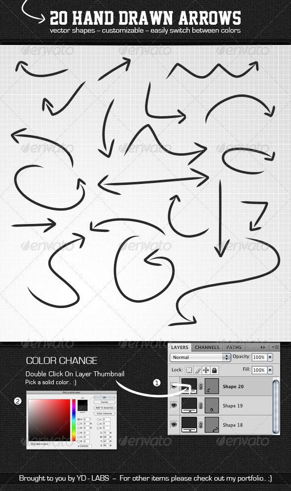 20 Hand Drawn Arrows - Flourishes / Swirls Decorative
