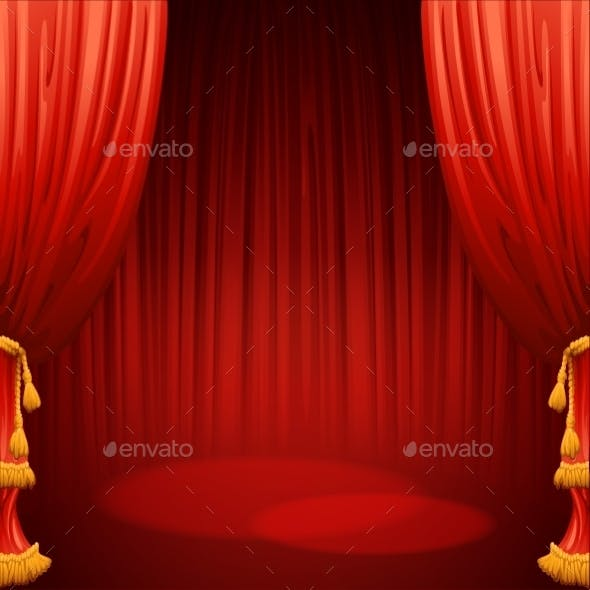 Theater Stage With Red Curtain. Vector