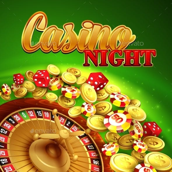 Casino Night. Vector Illustration With Roulette