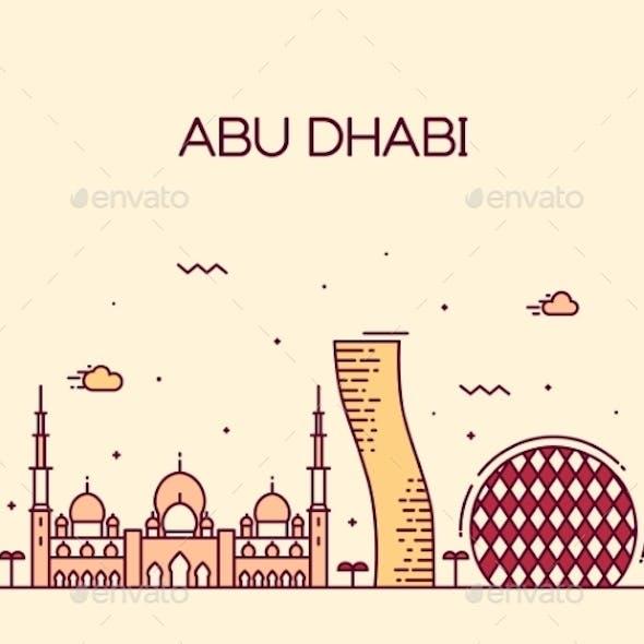 Abu Dhabi City Skyline Trendy Vector Line Art
