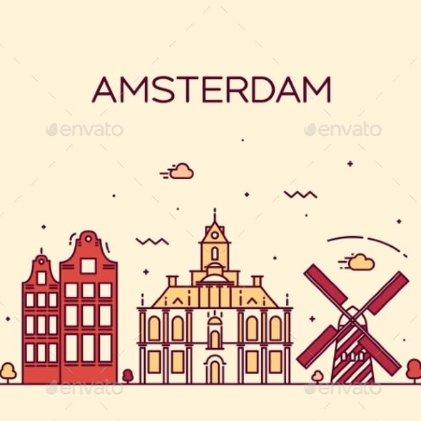 Amsterdam City Skyline Trendy Vector Line Art