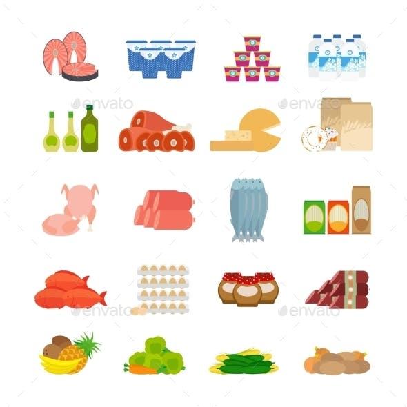 Supermarket Food Flat Icons