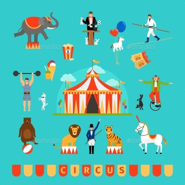Circus And Fun Fair Elements