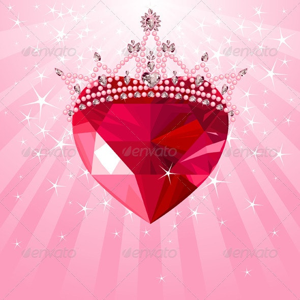 Crystal heart with crown on radial background - Valentines Seasons/Holidays
