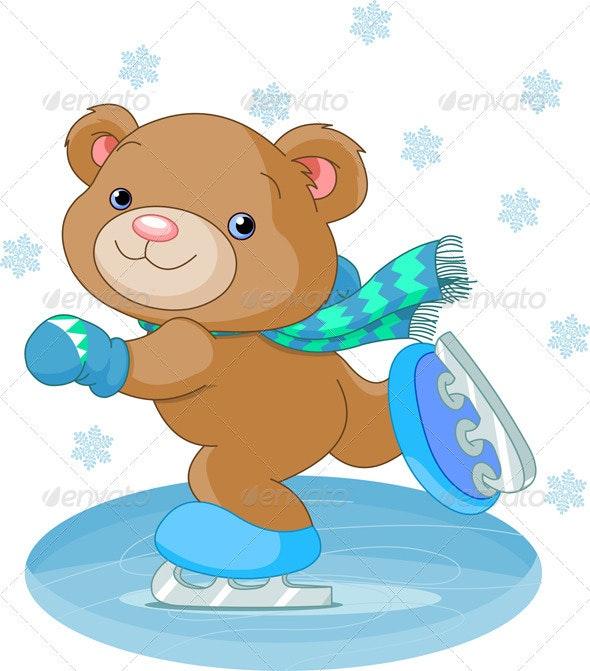 Cute bear on ice skates - Characters Vectors