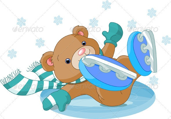 Cute bear fell to the ice rink - Sports/Activity Conceptual