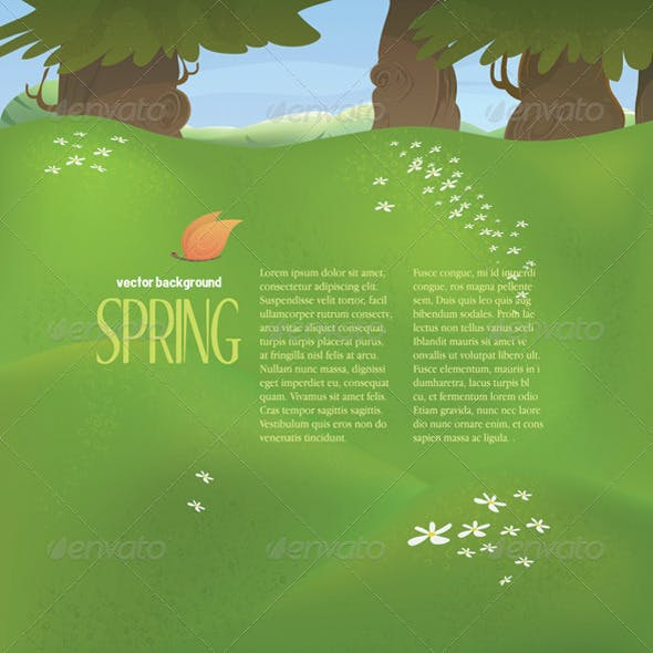 Vector spring landscape with meadow and trees