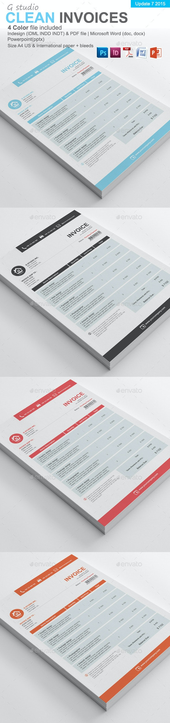 Gstudio Clean Invoices Template - Proposals & Invoices Stationery