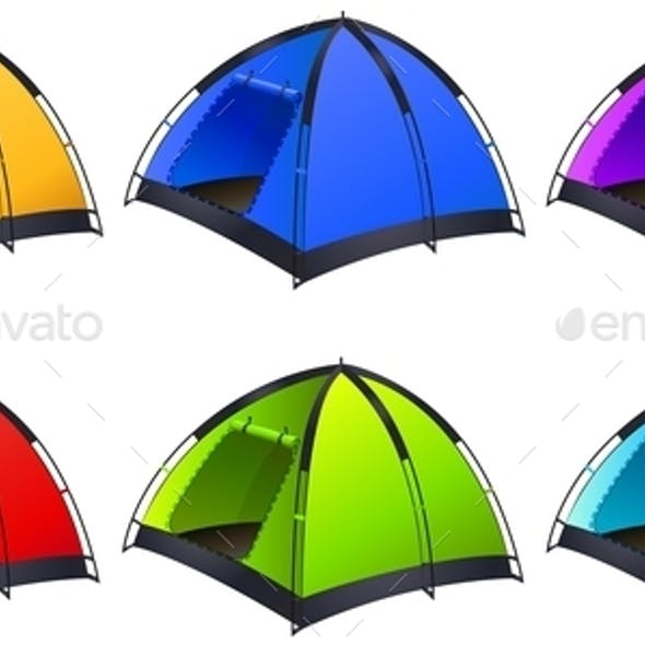 Set of Different Coloured Tents
