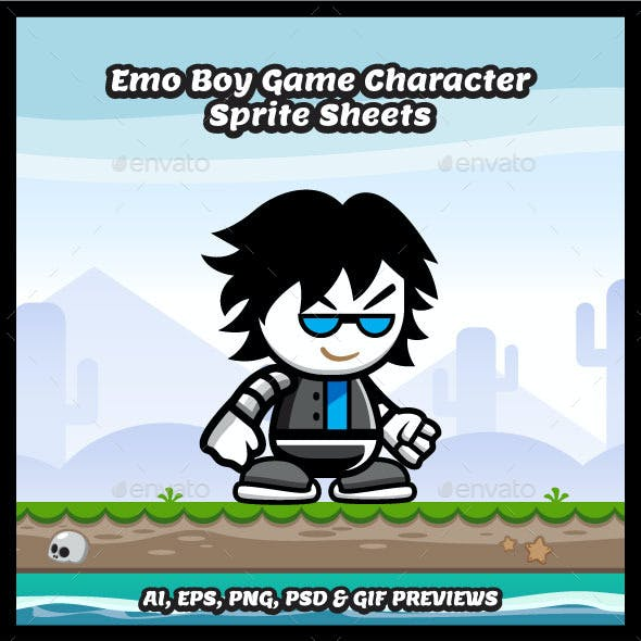 Emo Boy Game Character Sprite Sheets