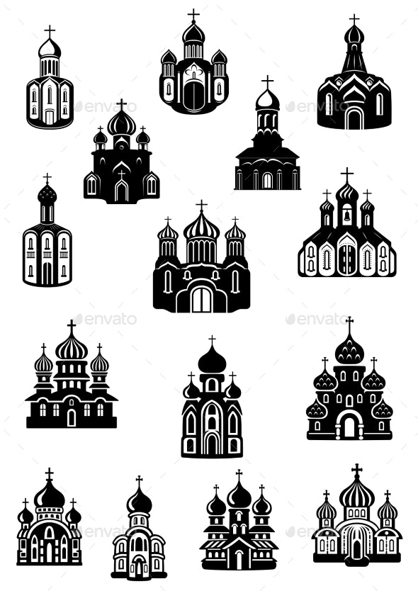 Temple, Church Fane and Shrine Icons - Religion Conceptual