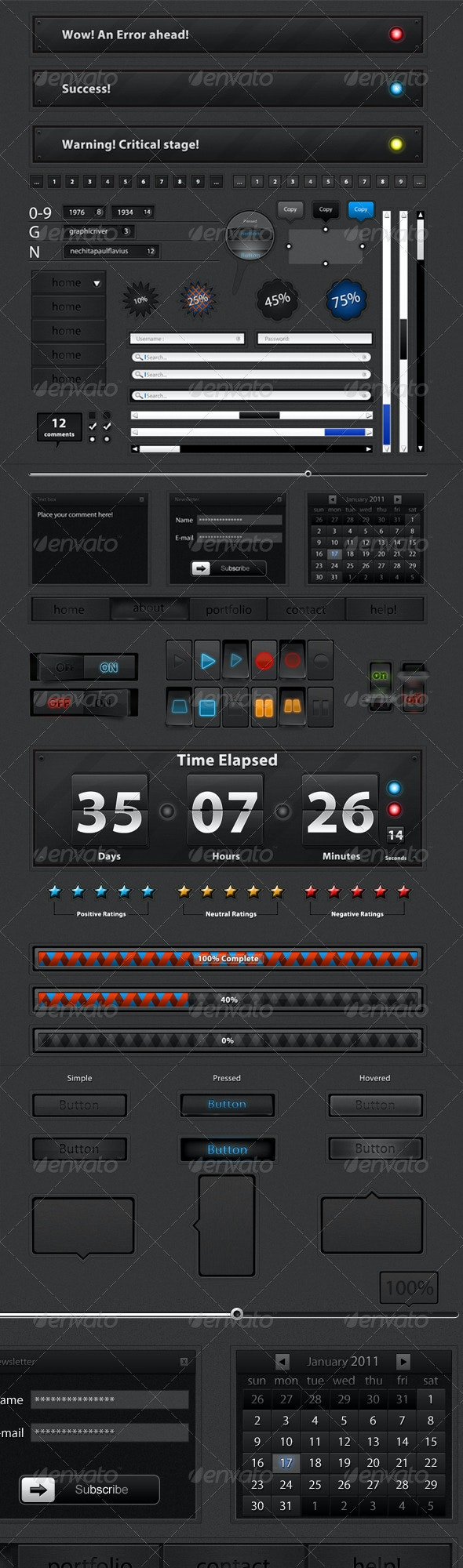 Ultimate Web Elements pack 1.1 Dark Edition - Miscellaneous Web Elements