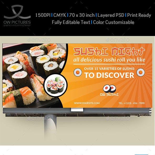 Sushi Restaurant Billboard Template