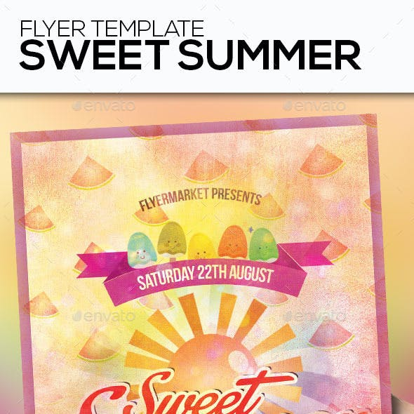 Sweet Summer Party Flyer Template | 4×6 and 6×4