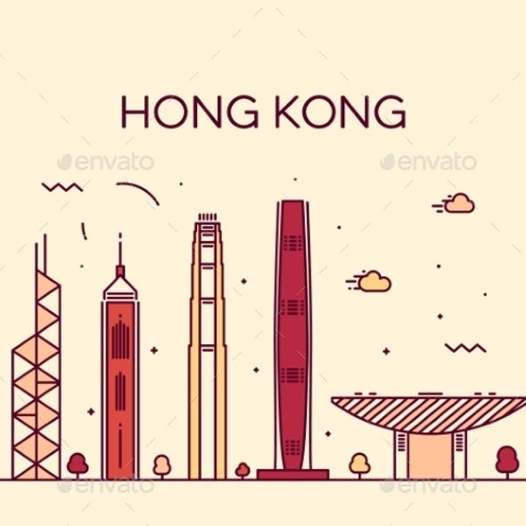 Hong Kong City Skyline Detailed Silhouette Vector