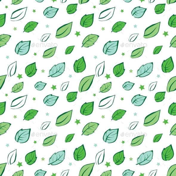Vector Green Leaves Diagonal Seamless Pattern