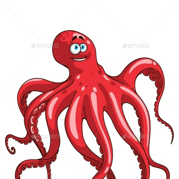 Red Octopus Animal Cartoon Character