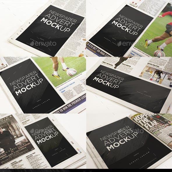 6 Newspaper Advert Mockups