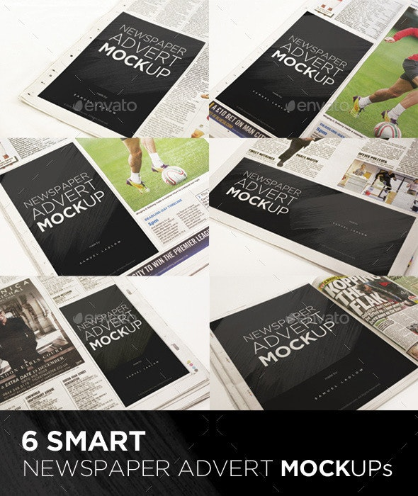 6 Newspaper Advert Mockups - Miscellaneous Print