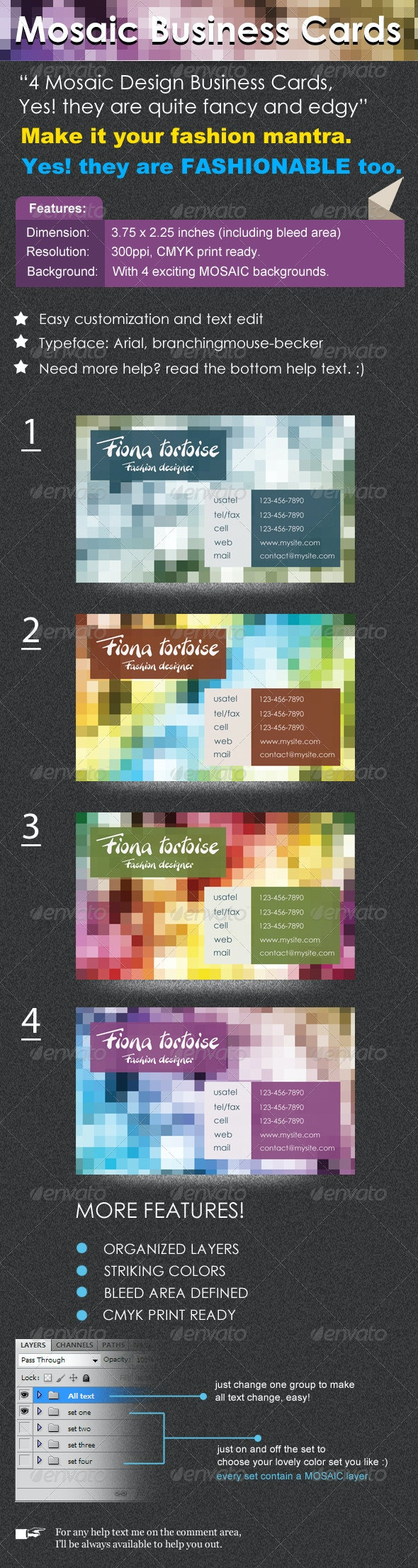 Mosaic Business Cards - Creative Business Cards