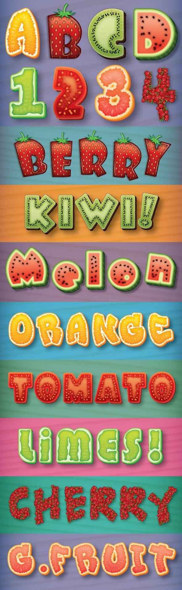 Fruit Text Styles - Styles Illustrator