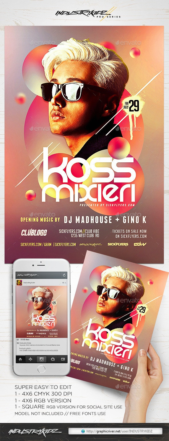 Electro DJ Flyer PSD V8 - Clubs & Parties Events