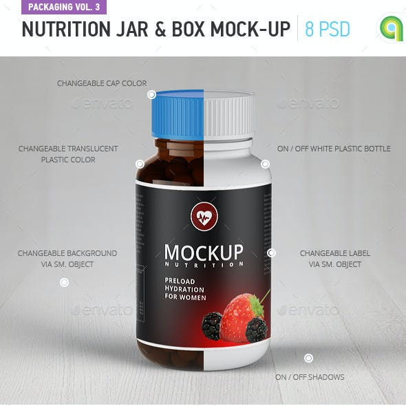 Nutrition jar and box mock-up