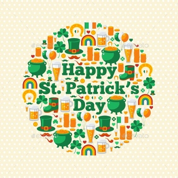 Happy Patrick's Day Concept with Flat Icons