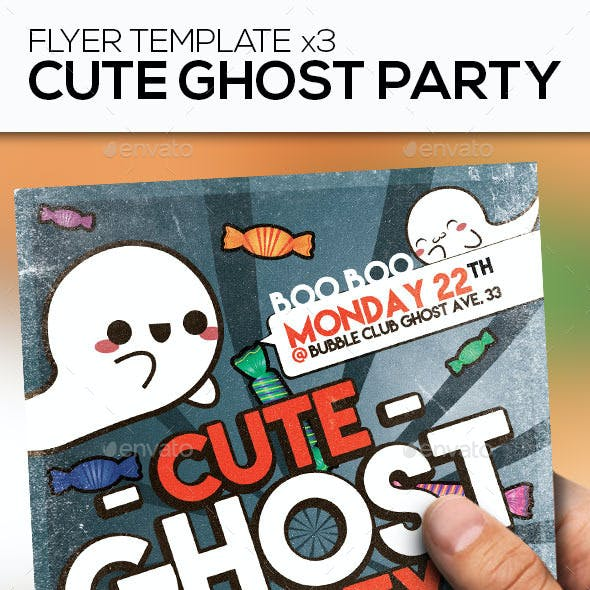 Cute Ghost Party Flyer Template