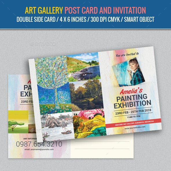 Art Gallery and Painting Exhibition Post Card Temp