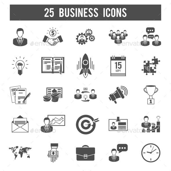 Business Startup Black Icons Set