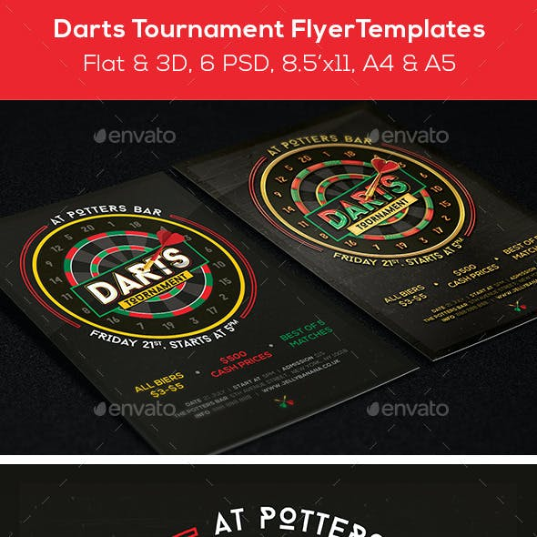Darts Mag. Ad, Poster or Flyer – Flat & 3D
