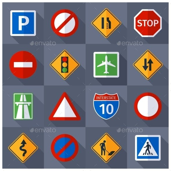 Road Traffic Signs Flat Icons Set