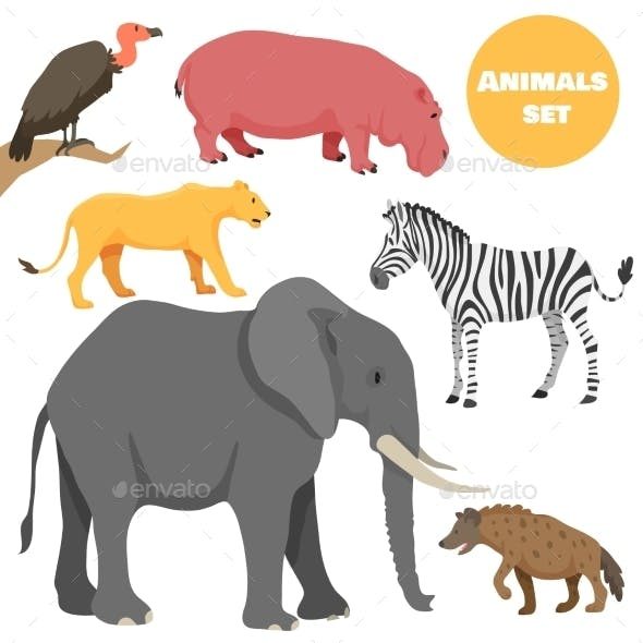 African Animals Set for Kids In Cartoon Style