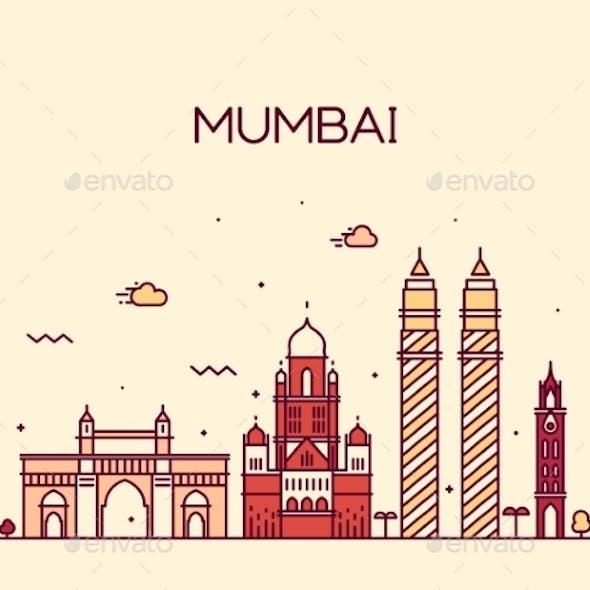 Mumbai City Skyline Vector Illustration Line Art