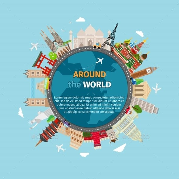 Travel Around The World Postcard