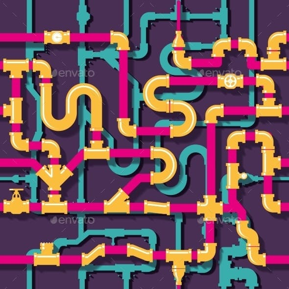 Water Piping Seamless Pattern