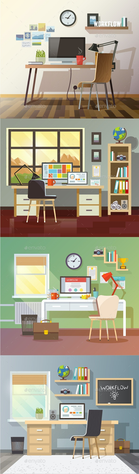 Workplace Illustrations - Backgrounds Business