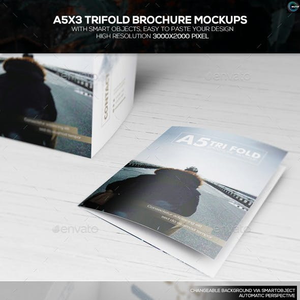 A5x3 Trifold Brochure Mockups