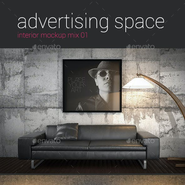 Advertising Space Interior Mockup Mix 01