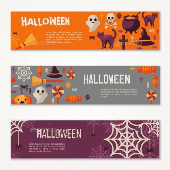 Halloween Horizontal Banners or Flyers