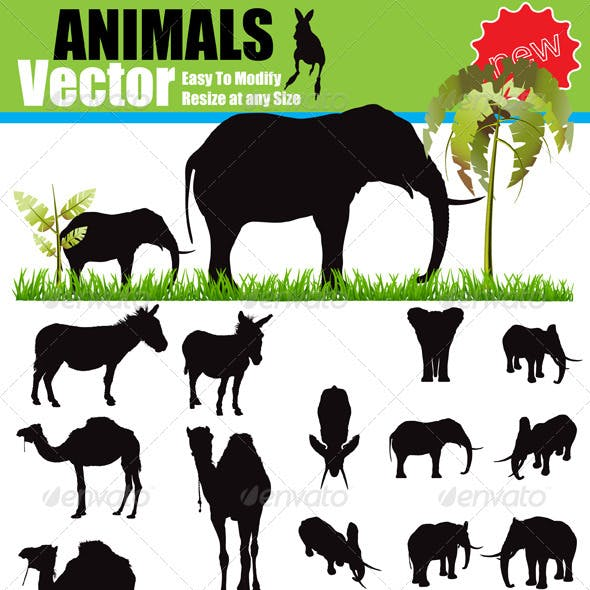 Vector Animals Silhouette Set