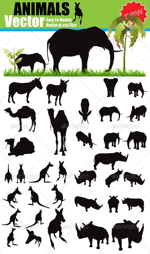 Vector Animals Silhouette Set - Animals Characters