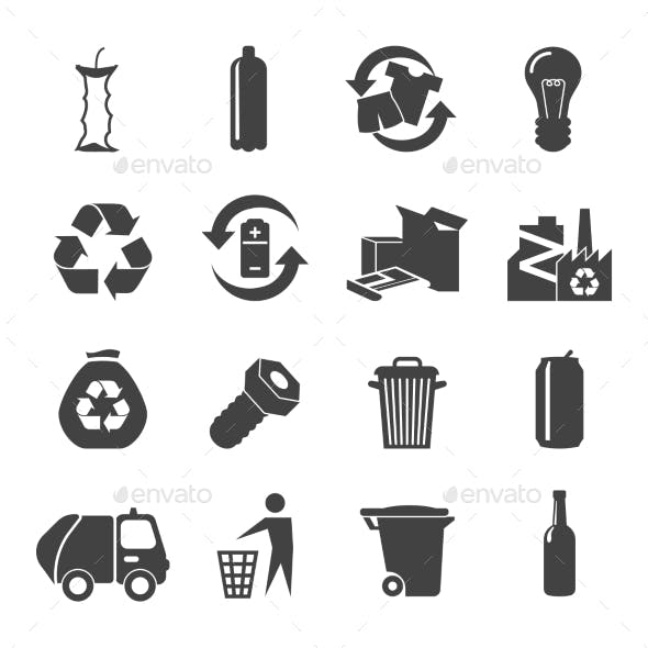 Recyclable Materials Icons Set