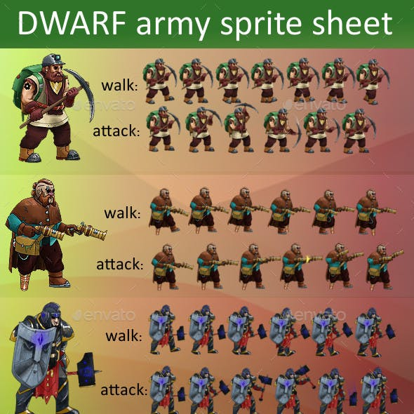 Dwarf Army game sprite sheet
