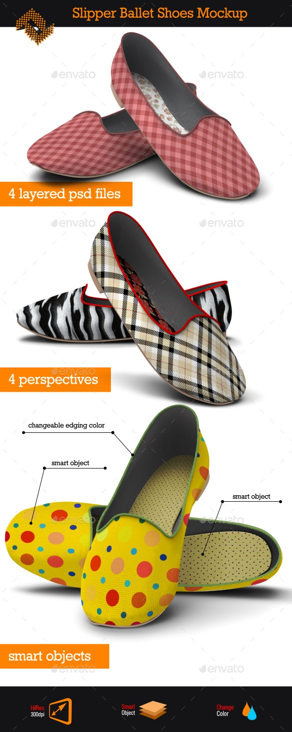 Slipper Ballet Shoes / Fabric Pattern Mockup - Miscellaneous Apparel