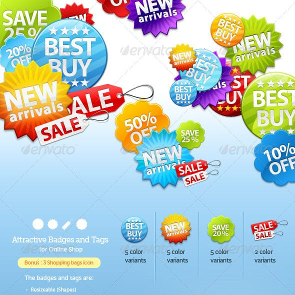 Badges and Sale Tags for Online Shop