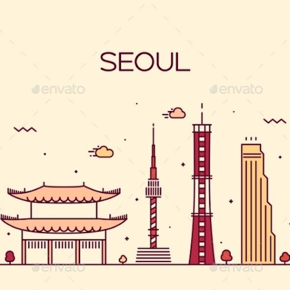 Seoul City Skyline Trendy Vector Line Art Style