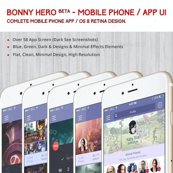 Bonny Hero App / Phone / Mobile UI