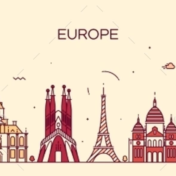 Europe Skyline Detailed Silhouette Line Art Style